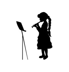 silhouette girl music playing flute vector image