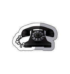 sticker monochrome silhouette antique phone with vector image