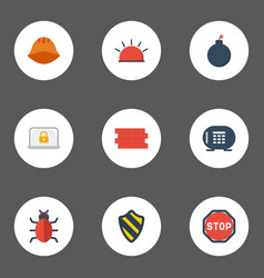 flat icons lock road sign hardhat and other vector image