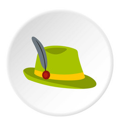 green hat with feather icon circle vector image