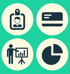 Job icons set collection of id badge presenting vector