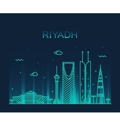 Riyadh skyline trendy linear vector image