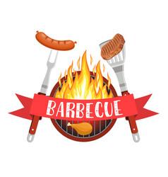 barbecue party logo vector image vector image