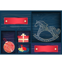 Box of Christmas decorations vector image vector image
