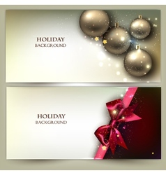 Christmas banners Golden Xmas baubles set vector image vector image