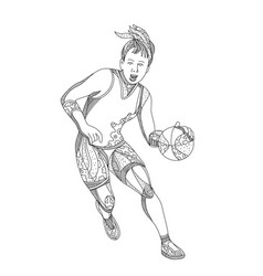 female basketball player doodle art vector image vector image
