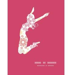 Folk floral circles abstract jumping girl vector