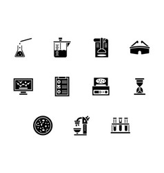 forensic laboratory glyph style icons set vector image vector image