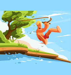 guy jumps into water vector image vector image