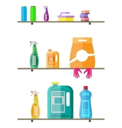 Household products on plastic shelves vector image vector image