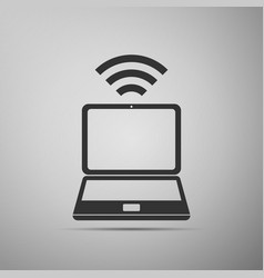 laptop and wireless icon wireless technology vector image