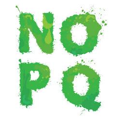 n o pq handdrawn english alphabet - letters vector image