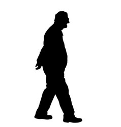 old man silhouette on white background vector image