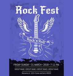 rock n roll fest announcement poster design vector image