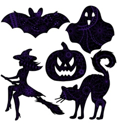 halloween drawing silhouettes vector image vector image