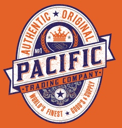 Vintage Americana Style Pacific Label vector image