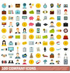 100 company icons set flat style vector