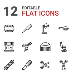 12 hairdresser icons vector
