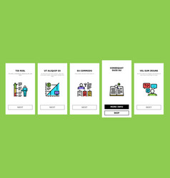About me presentation onboarding icons set vector