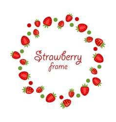 Abstract Round Frame Made of Strawberry vector image