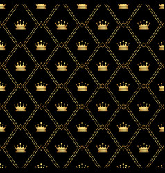 abstract seamless pattern with golden crowns vector image