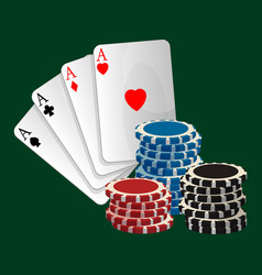 Ace playing cards with symbols and gambling chips vector