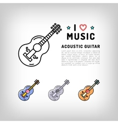 Acoustic guitar isolated line art icon music vector