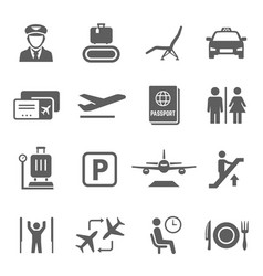 airport icon set travel airplane and vector image