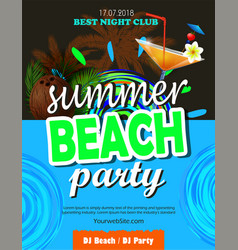beach party flyer vector image
