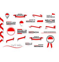 Big set indonesian ribbons symbols icons vector