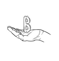 Bitcoin symbol and hand vector