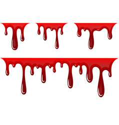 blood drip 3d set drop isolated white vector image