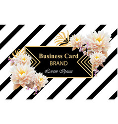 Business brand card with realistic flowers vector