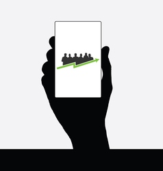business people silhouette in hand vector image