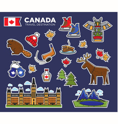 canada travel destination poster with national vector image