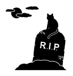 Cat sitting by gravestone vector image