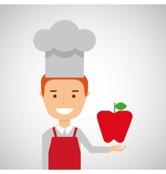 Cheerful chef fresh apple graphic vector