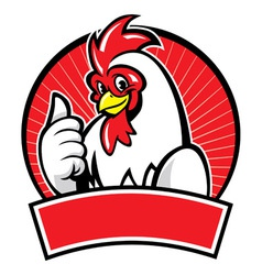 chicken mascot with thumb up vector image