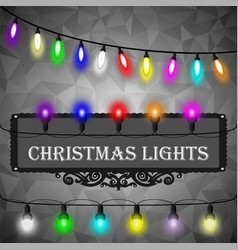 Christmas lights decorations set on black vector