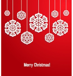 Christmas paper card with hanging snowflakes vector image
