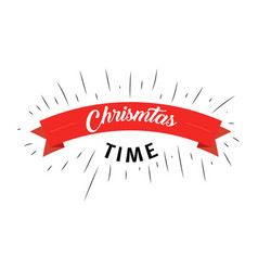 christmas time text with red ribbon on white vector image