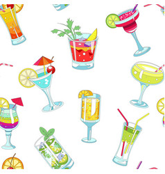 cocktails with straws and slices seamless pattern vector image