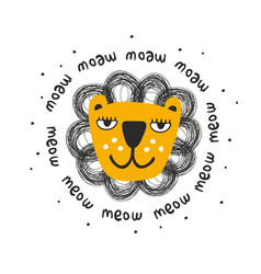Cool scandinavian print with lion face art vector