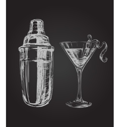 Cosmopolitan cocktails and shaker hand drawn vector