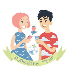 couple with phones of vector image