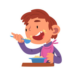Cute boy having breakfast preschool kid daily vector