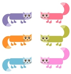Cute colorful cat set vector