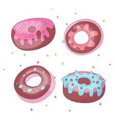 cute funny girl teenager colored icon set donuts vector image