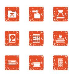 Dangerous data icons set grunge style vector