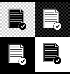 document and check mark icon isolated on black vector image